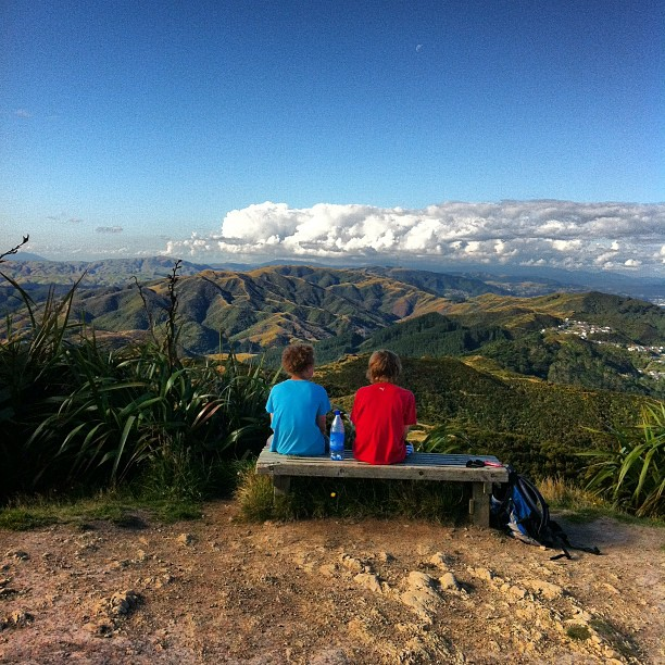 Instagram Photo of my sons sitting on top of Makara peak, Wellington, New Zealand