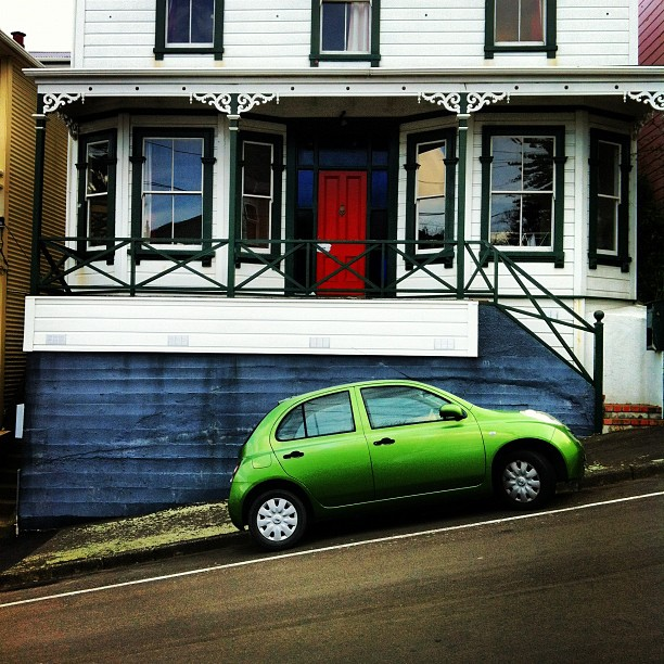 Instagram Photo of a typical house and road in Wellington, New Zealand